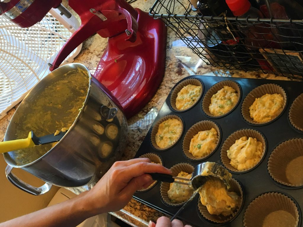 Pouring-batter-into-muffin-tin