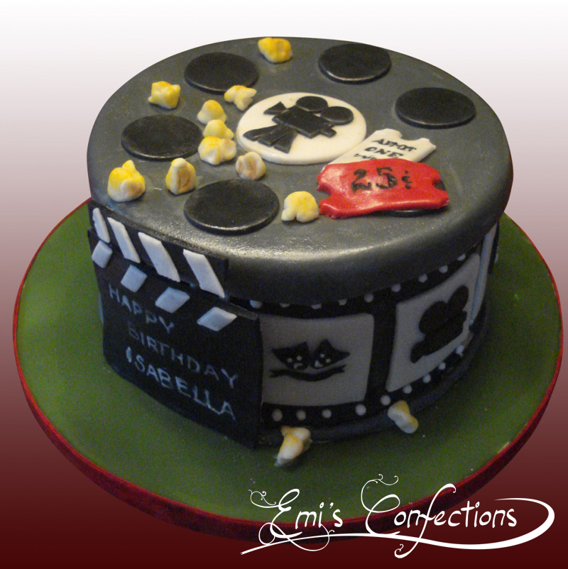 Miraculous Movie Reels Cake With Popcorn Tickets And Clapboard Emi Ponce Funny Birthday Cards Online Alyptdamsfinfo