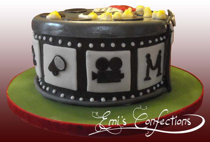 Stupendous Movie Reels Cake With Popcorn Tickets And Clapboard Emi Ponce Funny Birthday Cards Online Alyptdamsfinfo