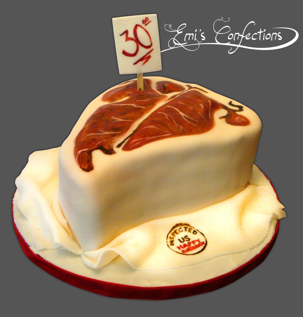 Steak cake, t-bone cake, ribeye cake, meat cake, barbecue cake, barbq cake, bar-b-q cake, bbq cake, grill cake