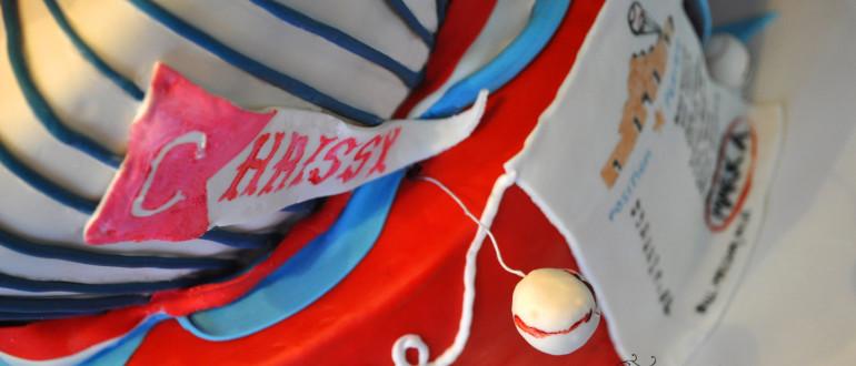 baseball cake, caddy wampus cake, topsy turvy baseball cake, topsy-turvy cake, fondant baseball pennant, yoga om cake, baseball banner cake