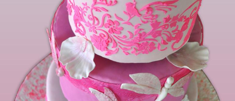 Pinkalicious cake, pink stencil cake, fondant dragonflies, fondant peonies, fondant roses, royal icing stenciling