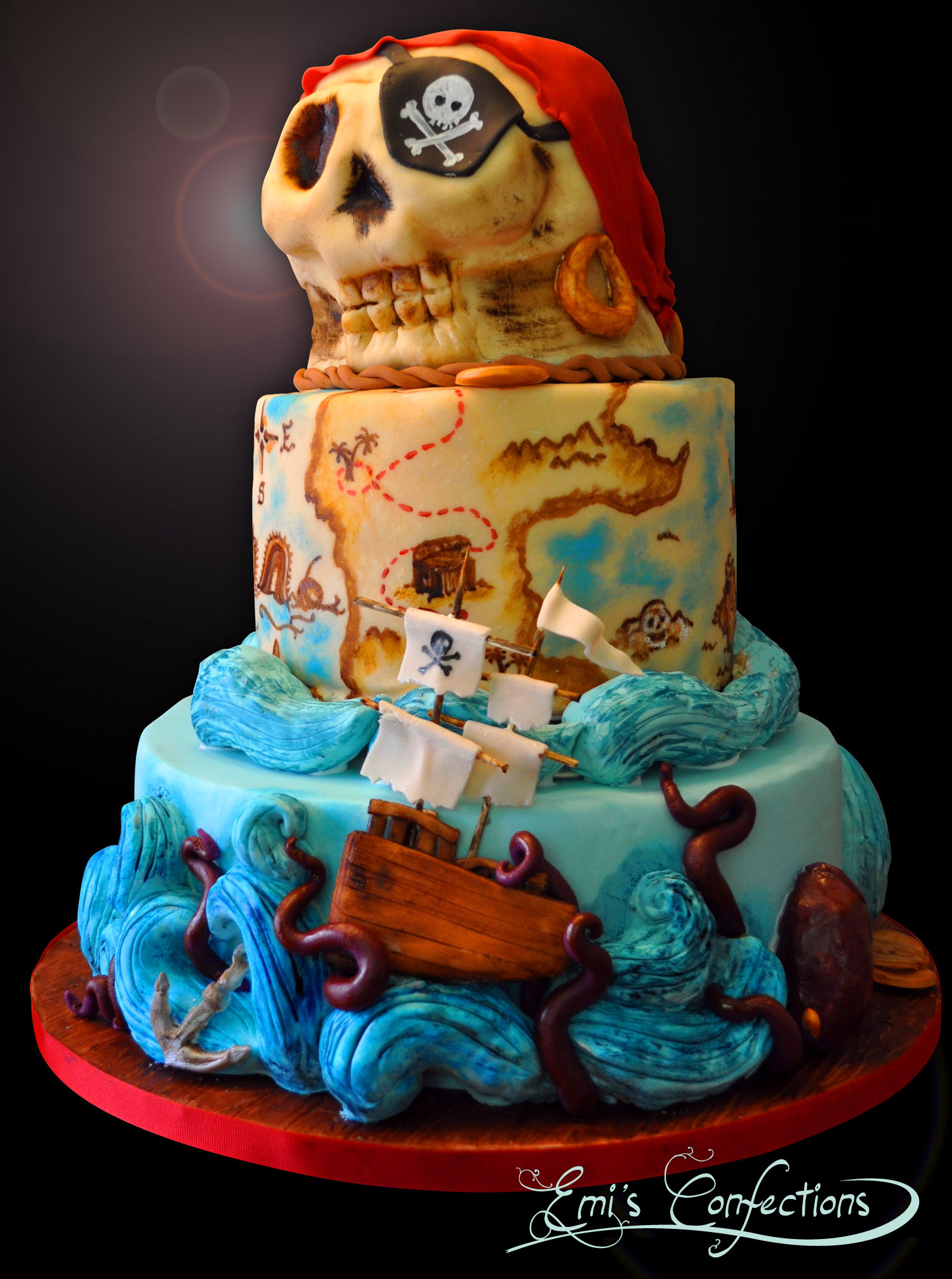 Awesome Pirate Ship Treasure Map And Skull Cake Emi Ponce De Souza