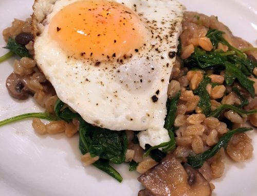 Warm Mushroom Farro Salad with Eggs